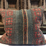 Large Vintage Kantha Cushion with teal and russet tones